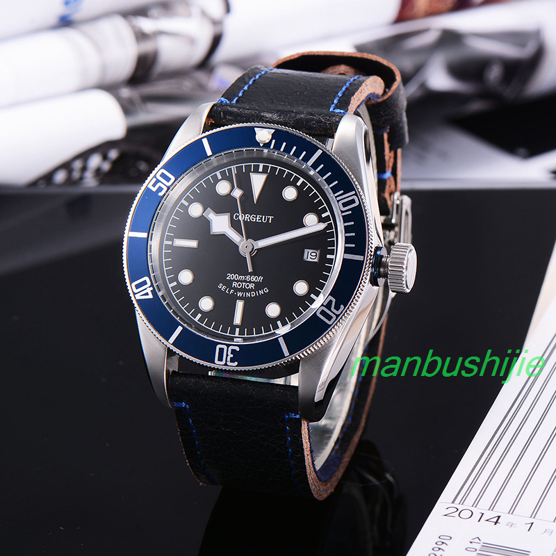 41MM Corgeut sapphire glass black dial blue bezel leather strap miyota Automatic Luminous Marks mens water resistant Wristwatch  41mm corgeut black dial red bezel 21 jewels miyota automatic diving mens watch