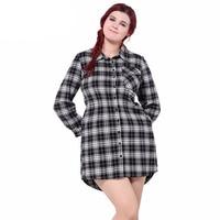 2017 Plus Size Plaid Shirt Dress For Women Fashion Long Sleeve Casual Female Dress Spring Black Women Classical Top Shirt Dress