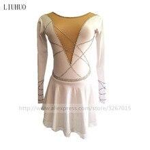 High-end customization Figure Skating Dress Womens Girls Ice Pure white high elastic spandex fabric Handmade
