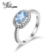JewelryPalace Oval 1ct Natural Blue Topaz 925 Sterling Silver Ring Classic Engagement Wedding Rings For Women 2016 New Fashion