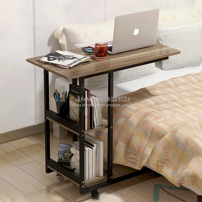 Adjustable Removable Table Computer Portable Laptop Wood Desk Steel Frame Tray