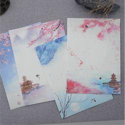 8 páginas/conjunto retro clássico poesia ilustração temporada plantas flores pintura carta papel de escrita papel carta de amor papelaria