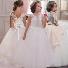 Новый 2019 девушки'задняя часть полые цветок платье цветок мальчик высокое-конец свадебное платье элегантные девушки' цветок-кружева банкет платье