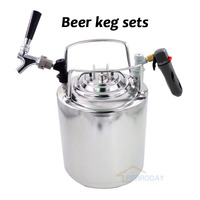 2.5 gallon 10L Cornelius Style Stainless Steel Beer Keg & beer faucet tap & co2 keg charger kit for beer Home brewing bar