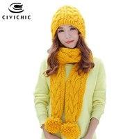 CIVICHIC Coréenne Style Fille Mignon Chaud Ensemble Crochet Cap Bonnet En Tricot écharpe 2 Pcs Pompon Bonnets Châle Solide Armure Velours Chapeaux SH197