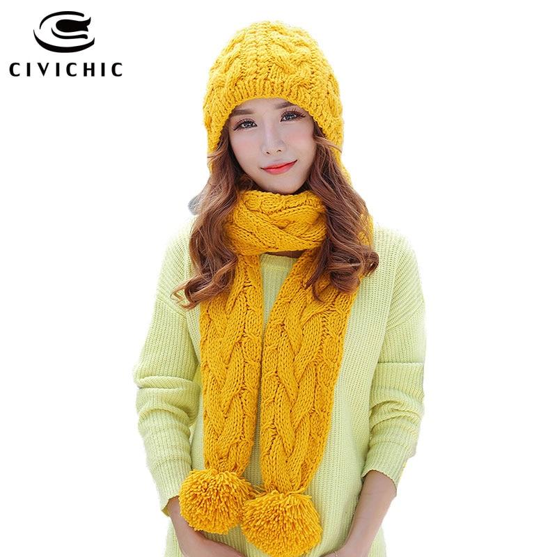 CIVICHIC Korean Style Girl Cute Warm Set Crochet Cap Knit Hat Scarf 2 Pcs Pompon Beanies Shawl Solid Weave Velvet Headwear SH197