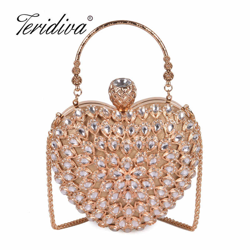 Heart Shaped Women Evening Bags Diamonds Metal Beading Day Clutch Small  Chain Shoulder Handbags For Party 0bcd2971d8d3