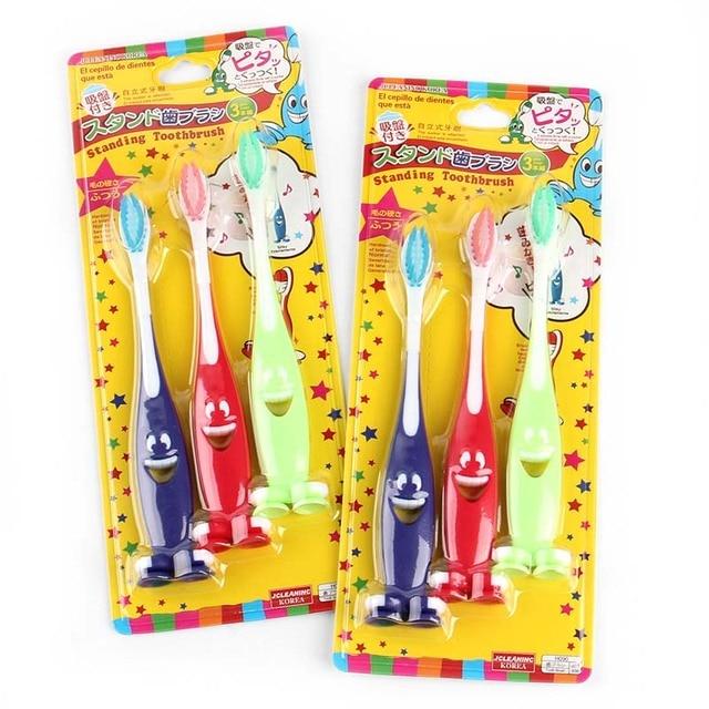 الأطفال المفضلة! 3 قطعة/الوحدة شعيرات لينة جدا فرشاة الأسنان الكرتون ابتسامة فرشاة الأسنان المضادة للبكتيريا للأطفال