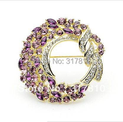 Wholesae Lilac Rhinestone Crystal Large Wreath Floral Party Pin Brooch Gold Pated