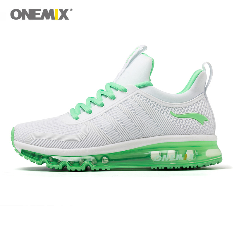 Onemix Women Running Sneakers Air Cushion Shock Absorption For Lady Sport Run Fitness Adult Walking Green size euro 36-40 us 3-7