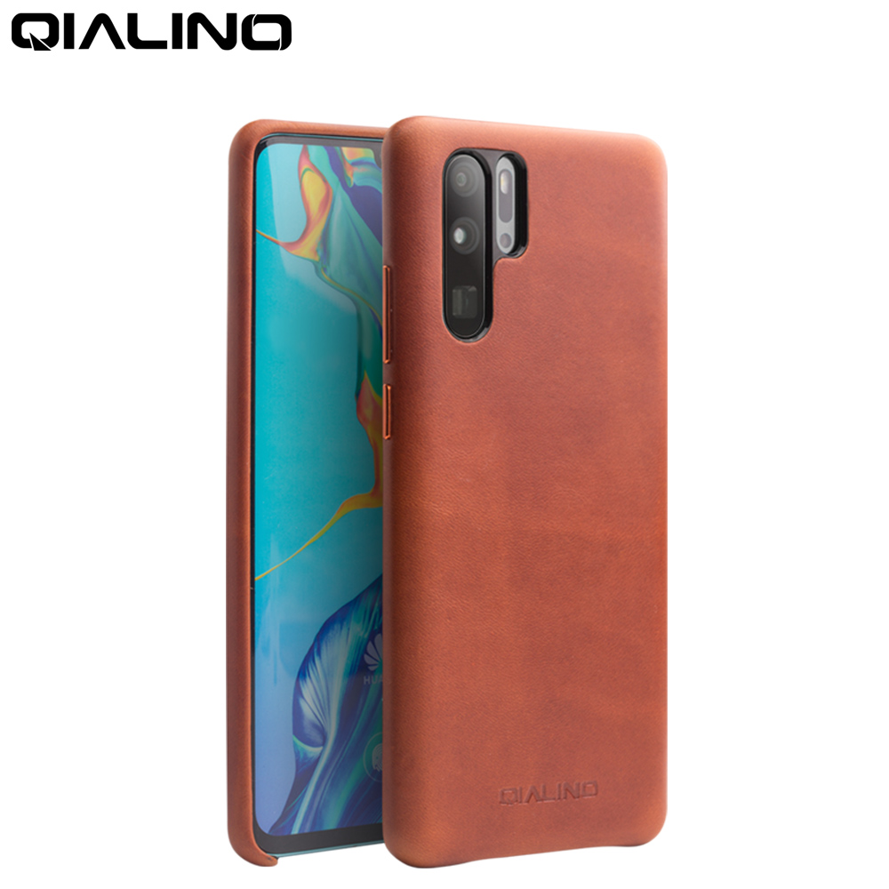 QIALINO Fashion Genuine Leather Ultra Slim Phone Case for Huawei P30 Pro 6.47 inch Luxury Handmade Back Cover for Huawei P30-in Half-wrapped Cases from Cellphones & Telecommunications