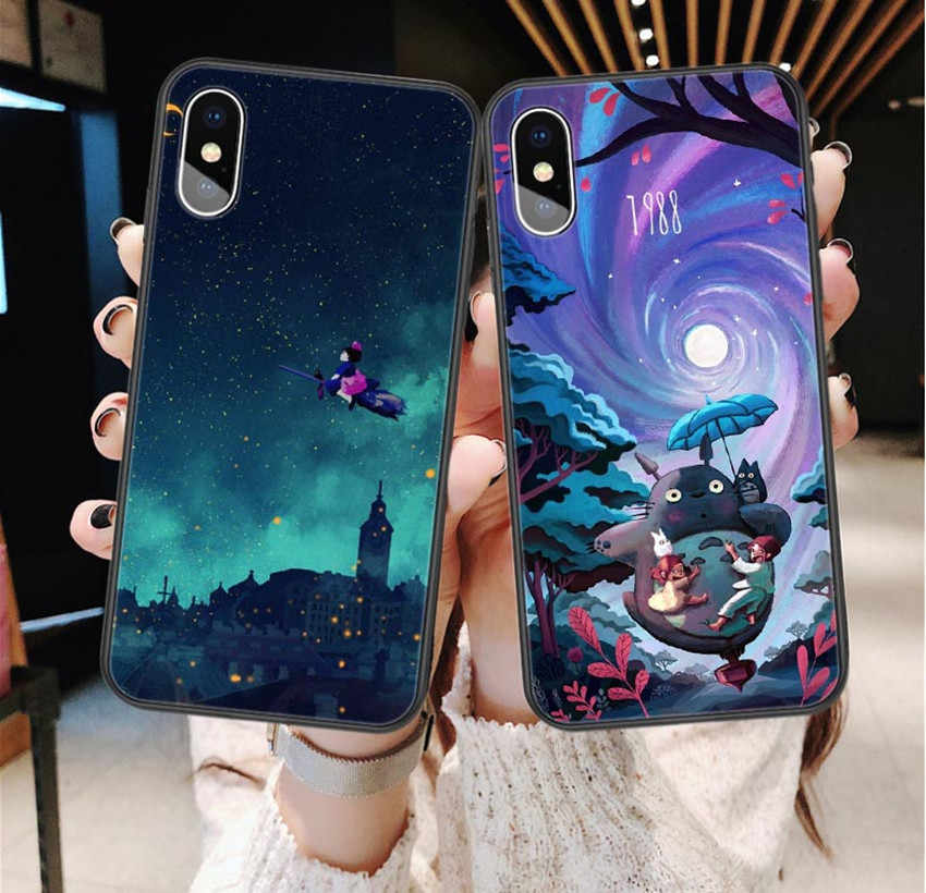 Teropaco Cute Totoro Soft Phone Case for iPhone X 5 6 6S 7 8 Plus Spirited Away Studio Ghibli For iPhone XS XR XS MAX 11 Pro Max