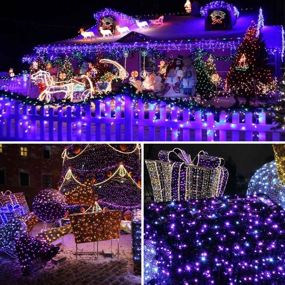 Purple Color Solar Christmas Lights 72ft 200 LED 8 Modes