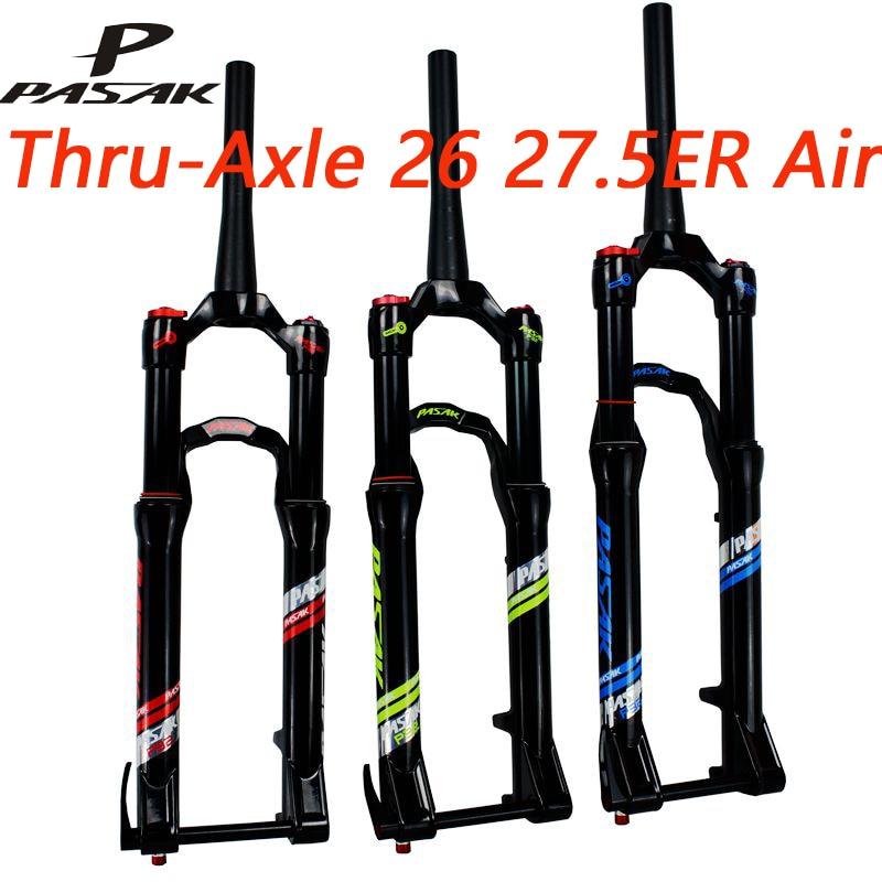 PASAK 27.5 26 27.5er Air Fork QR15*100mm thru axle Suspension Bike fork Bicycle MTB air damping Fork Alloy Disc Brake Fork
