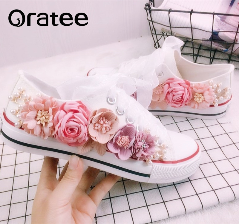 New 2018 Spring Fashion Women Casual Shoes Women's Handmade Custom Three-dimensional sequins Flowers  Flats