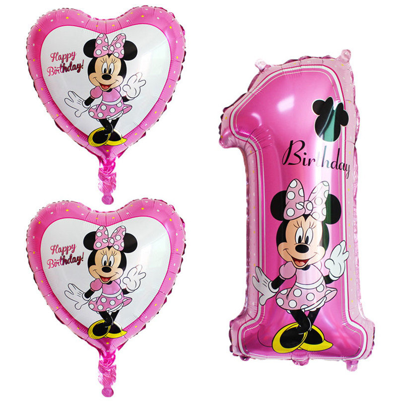 3pcs/set Baby Happy Birthday Balloons cute Mickey Minnie Birthday Decoration Foil Balloons Baby Shower Party Air Ballons