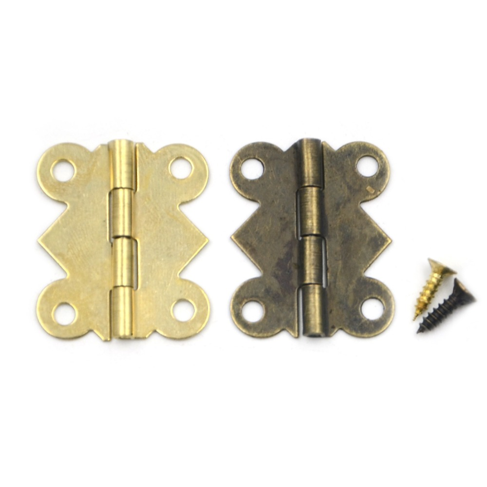 10pcs 25*20mm 180 Degrees Mix 2 colors Butterfly Iron Hinges Cabinet Drawer Door with Screw 10pcs gold mini butterfly door hinges cabinet drawer jewellery box hinge furniture hinge s diy hardware tools mayitr