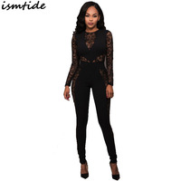 2017 Women Summer Hollow Out Beach Party Bodycon Jumpsuit Black Lace Hollow Out Bodysuit Long Sleeve