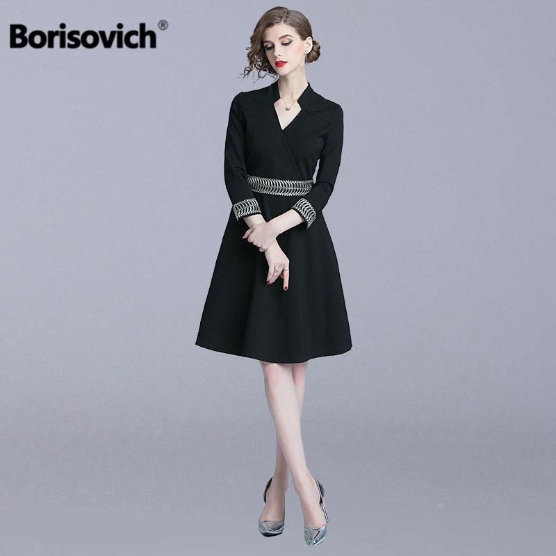 858983d224f9 Borisovich Office Lady A-line Dress New 2018 Autumn Hepburn Style V-neck  Embroidery