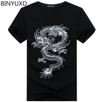 Мужская хлопковая футболка с принтом дракона и коротким рукавом