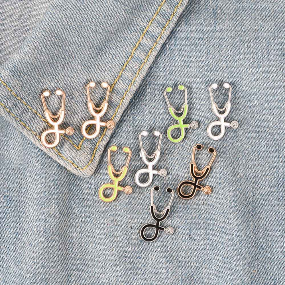 Haute qualité 2 Style broches docteur infirmière stéthoscope broche bijoux médicaux émail Pin Denim vestes collier Badge broches bouton