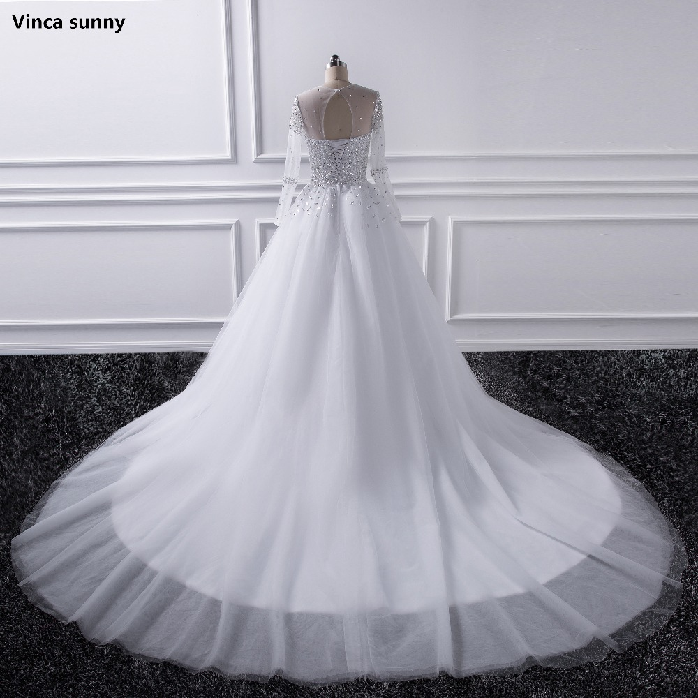 2017 Vestidos De Noiva Beautiful Sheer Sleeve Wedding Dress New Long Bridal Gown Rhinestones Pearls Crystals Ball In Dresses From