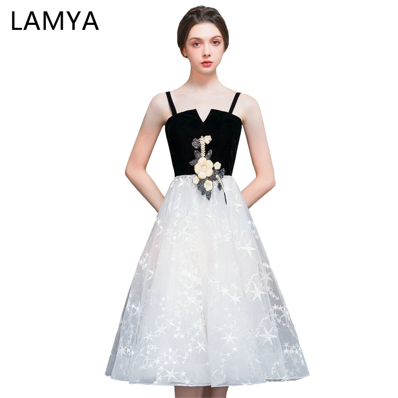 Discount Designer Evening Dresses: LAMYA Simple Chiffion Party Prom Dresses 2019 Scalloped A