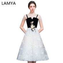 LAMYA Simple Chiffion Party Prom Dresses 2019 Scalloped A Line Evening Dress Cheap Plus Size Elegant Special Occasion Gowns(China)