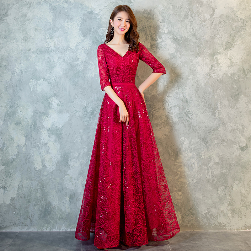 Aswomoye Elegant Win  Red Long Evening Dress 2018 New Appliques Sequins Prom Party Dress Back Lace Up A-Line Robe De Soiree