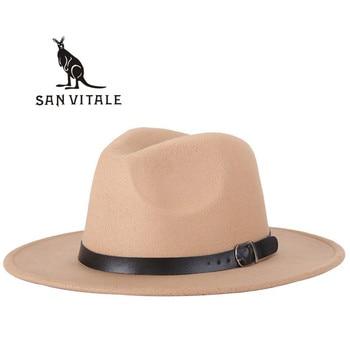 Fedora para mujeres sombreros de vaquero gorras de Iglesia primavera otoño  visera Panamá moda Floppy señoras sombreros mujeres sombrero elegante para  ... ede33c31280