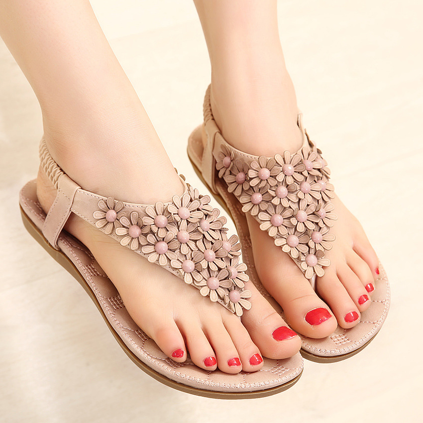Women Bohemian Summer Flat Sandals Flower Flip-Flops Beach Shoes Sandals Slipper