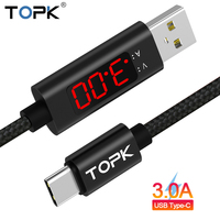 TOPK D-Line1 3A(Max) USB Type C Cable, QC 3.0 Fast Charging Voltage and Current Display Nylon Braided USB C Data Sync Cable Mobile Phone Cables