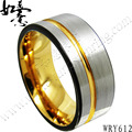 Free Shipping  NEW Tungsten Carbide Ring 10mm wide black and yellow gold color for men fashion jewelry ring