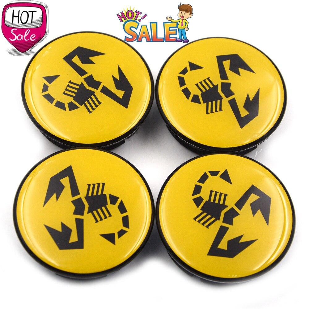 Image 2 - 20pc/lot 56mm Yellow Abarth Car Emblem Wheel Center Hub Cap Rim Badge Covers Scorpion Wheel Center Caps 5JA601151A-in Wheel Center Caps from Automobiles & Motorcycles