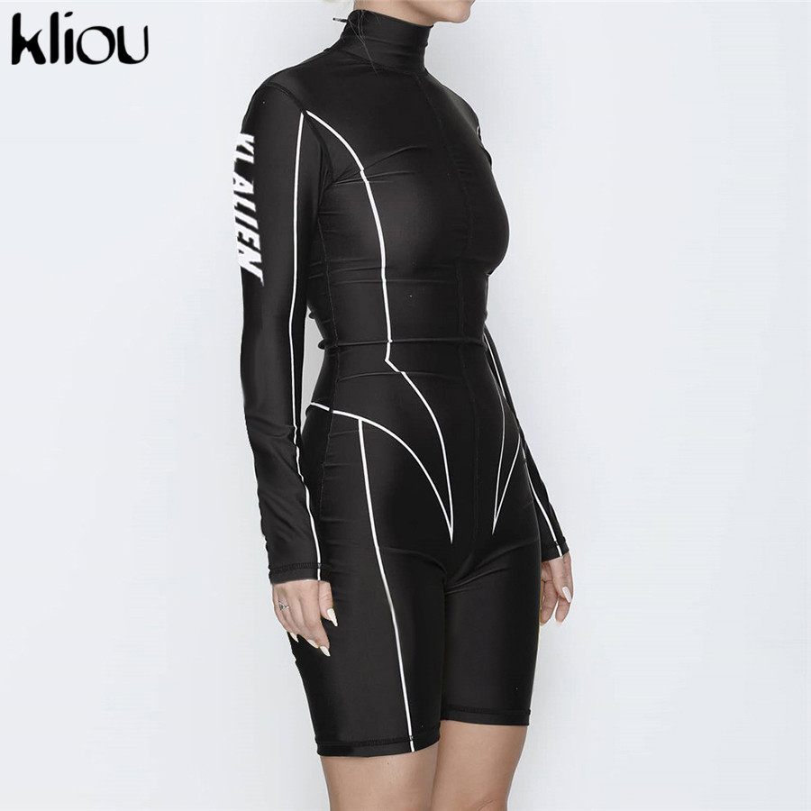 Kliou 2019 new women turtleneck full sleeve fitness playsuit white striped patchwork letter print push up skinny casual bodysuit 133