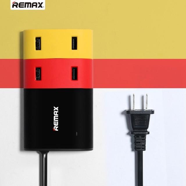 Newest Remax 4USB Outlet USB Hubs Ports Adapter intelligent Fast charging USB Charger Socket Base Plug EU Standard Plug