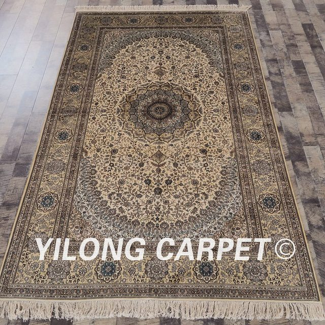 YILONG 5'x8' Oriental Handmade Carpet Rectangle Beige And