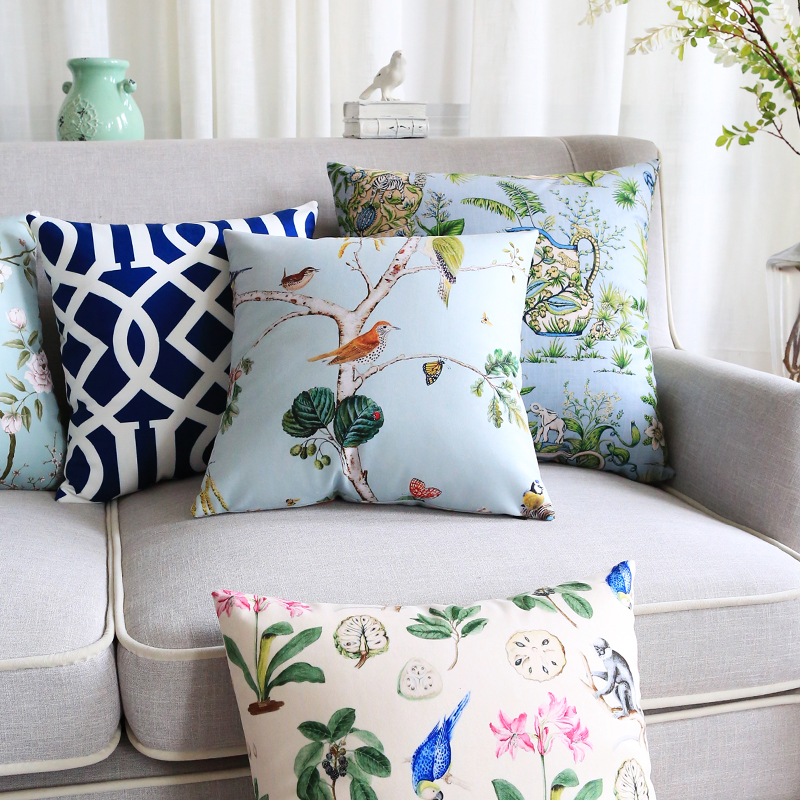 Wholesales Soft Velvet Pillow Cover Vintage Country Style Birds Floral Geometric Home Decorative PillowCase 45x45cm