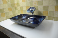 Bathroom Rectangular Tempered Glass Above Counter Wash Basin Cloakroom Counter Top Blue Vessel Sink HX9001