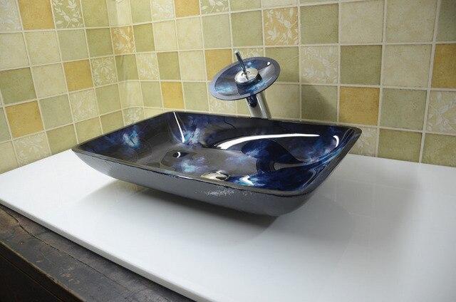 Bathroom Rectangular Tempered Gl Above Counter Wash Basin Cloakroom Top Blue Vessel Sink Hx9001