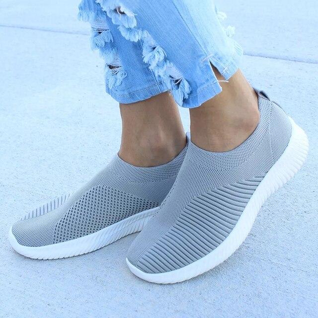 Cộng với Kích Thước Giày Phụ Nữ Giản Dị Đan Vớ Sneakers Căng Phẳng Phụ Nữ Trượt Trên Giày Nữ Giải Trí Căn Hộ Thời Trang Espadrilles