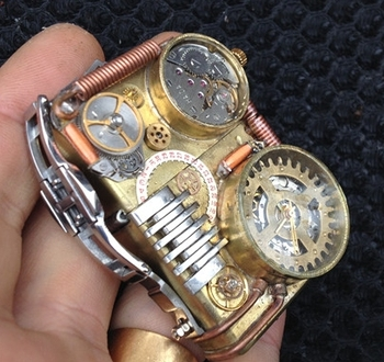BQYC-copper-steampunk-handmade-welding-technology-watch-lighter-lighter-gold-liner