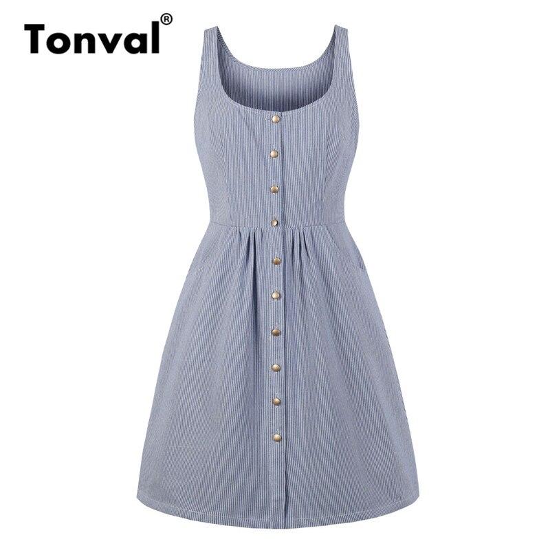 Tonval 2019 Summer Casual Striped Dress Women Tank Button Up Sleeveless  Pocket Side Blue A Line c8b342a5485c