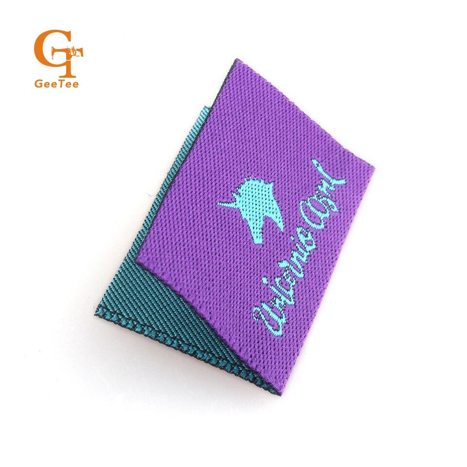 Garment center foldmain clothing labels customized name Woven t shirt tags
