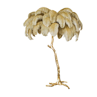 Nordic Luxury Ostrich Feather Led Floor Lamps Modern Copper Stand Light Living Room Hotel Lamp Floor Lighting Standing Lamp