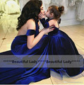 Hot Selling Royal Blue Flower Girls Dress 2016 New Hlter A Line Long Mother And Daughter Wedding Party Gowns Fast Shipping