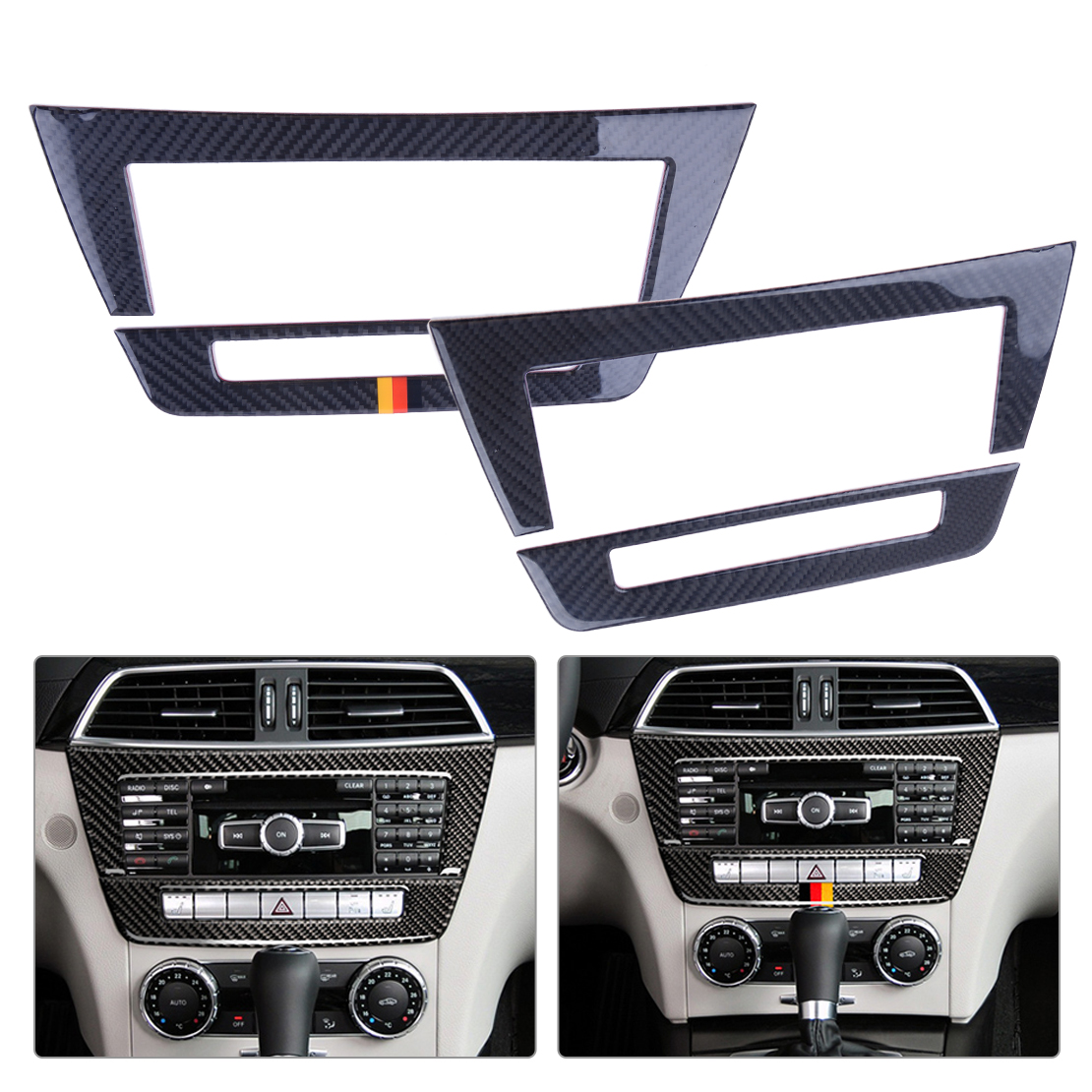 beler 2pcs Car Central Control CD Panels Decor Decorative Sticker Cover Trim Frame Fit For Mercedes Benz W204 2010 2013