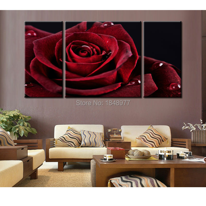 Aliexpress Buy 3 Piece Modern Dark Red Rose Flower Abstract HD Oil Painting On Canvas Wall Art Top Home Decoration For Living Room From Reliable