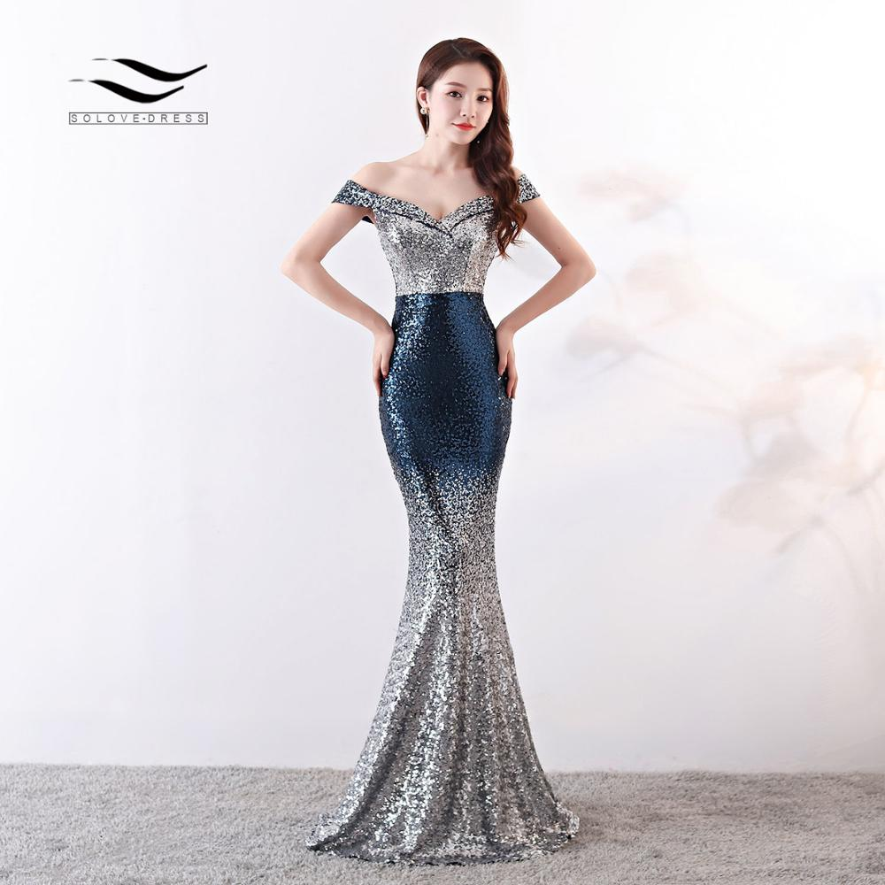Solovedress Off the Shoulder Sweetheart Gradient Color Trumpet Women Dress Mermaid Backless Party Bodycon Gown Slim Fit E71