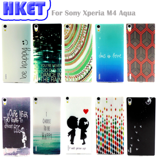 the best attitude e8824 932bd Hot High Quality Soft Silicon TPU Back Cover Case for Sony Xperia M4 Aqua  (5.0 inch) Painting style Animal fruit flowers #29